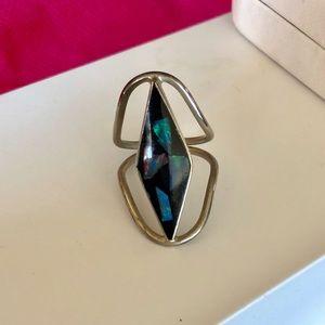 Black & Silver Opal Retro Fashion Ring